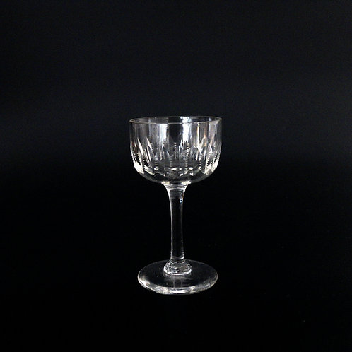 Antique etched crystal snaps Glasses set of four from Sweden early 1900s