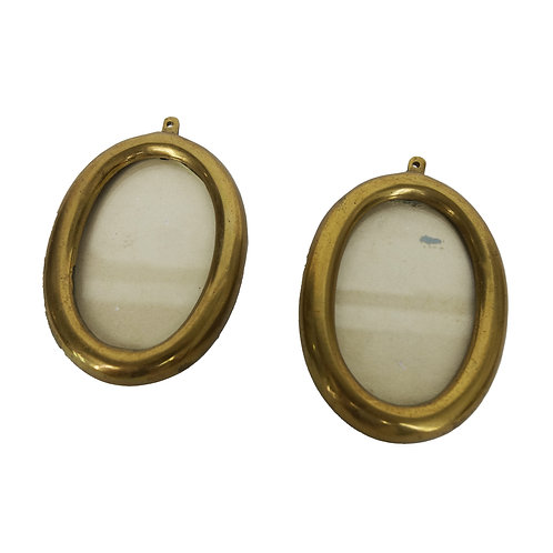 Stunning small antique oval brass frames with glass from Sweden early 1900s