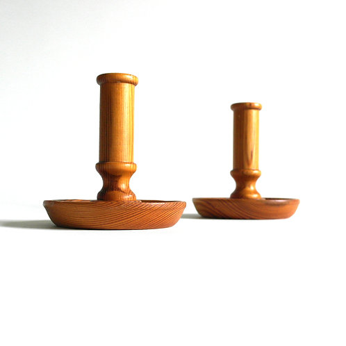 Retro handmade candle holder in solid pine from Sweden 1970s