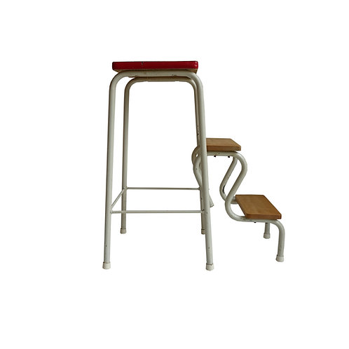 Retro stool/ladder in metal, birch and plastic details from Sweden mid-century