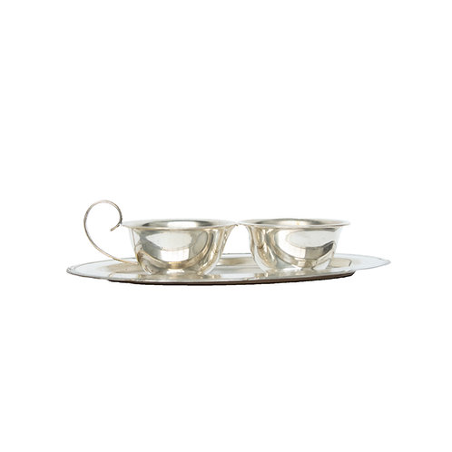 A silver plated set of sugar and milk cups plus plate from Sweden early 1900s