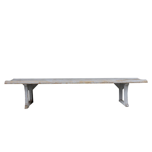 Stunning church bench in light grey painted pine from Sweden 1800/1900
