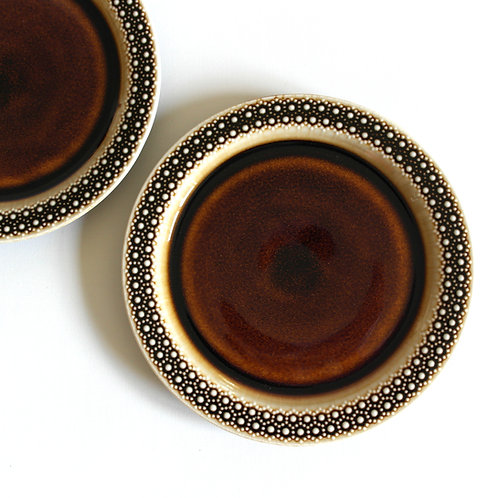 Retro glazed porcelain plates, set of six with lovely pattern from Sweden
