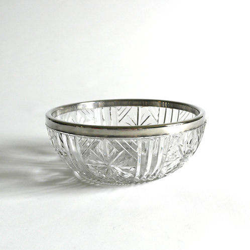 Vintage glass bowl with lovely pattern and silver plated lining from Sweden