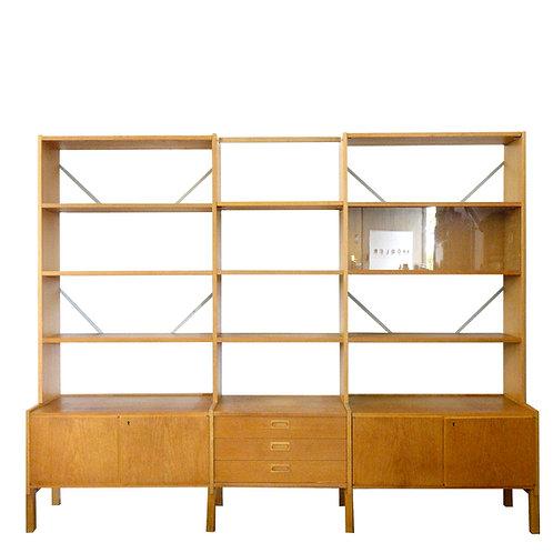 Large Retro oak veneer bookshelf with glass cabinet from Sweden 1960s