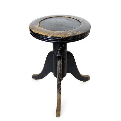Antique piano stool in birch iron and leather from Sweden 1800s