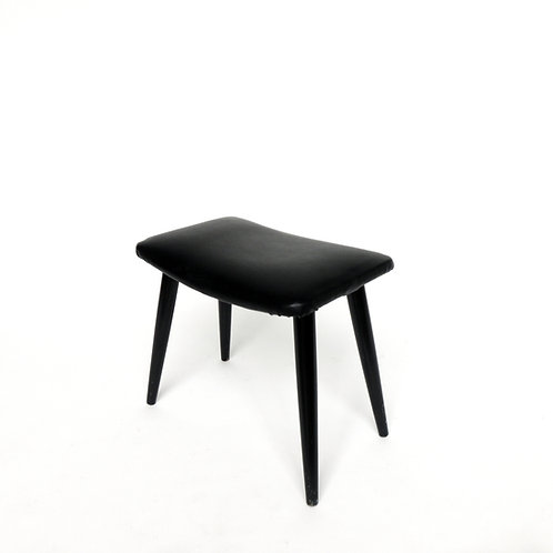 Retro black stool with pencil legs and PWC seat from Sweden 1960s