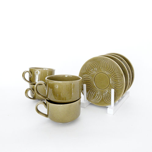 Bo Fajans green porelain cup and saucer from Sweden mid-century. Price per set
