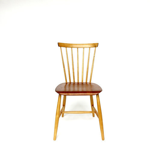 "Retro ""Pinnstol"" with birch frame and teak seat made in Sweden 1960s"