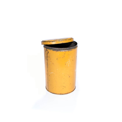 Vintage yellow tin container