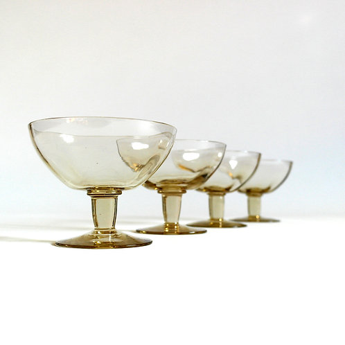 Retro crystal glasses/bowls with smokey tone from Sweden mid-century