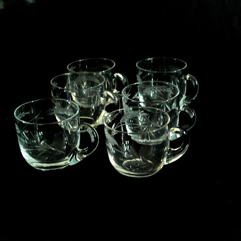 VIntage glögg glasses with handles and intarsia from Sweden mid-century