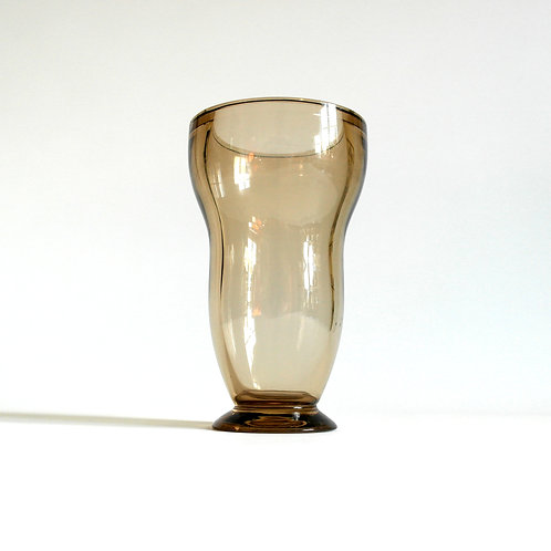 Stunning brown tinted crystal vase from Sweden mid-century