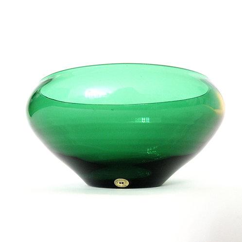 "Retro green glass bowl from ""Reijmyre"" Sweden. From 1950s"