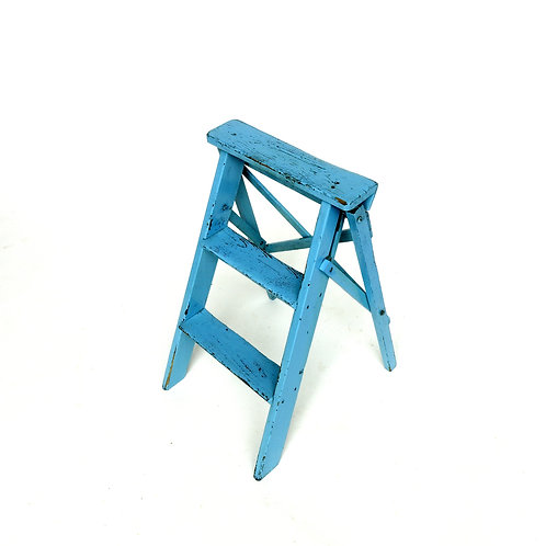 Vintage blue painted pine ladder from Sweden mid century