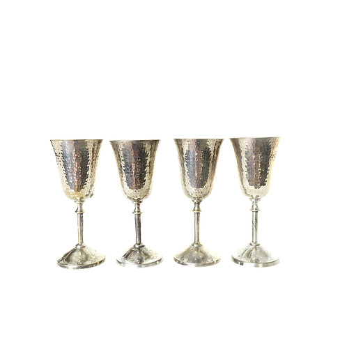 Antique Silver plated wine glasses set of four from Sweden early 1900s
