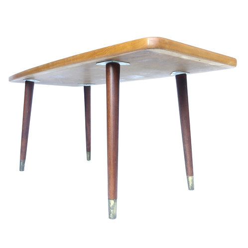 Retro coffee table in birch and teak with brass feet  from Sweden 1970s