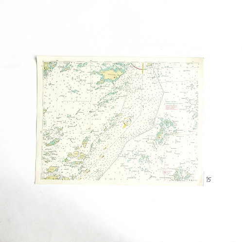 Vintage Nautical Chart of Stockholm Archipelago from Sweden 1970s