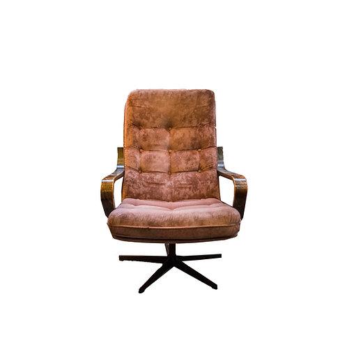 Stunning armchair in jacaranda and velvet Sweden 1960s