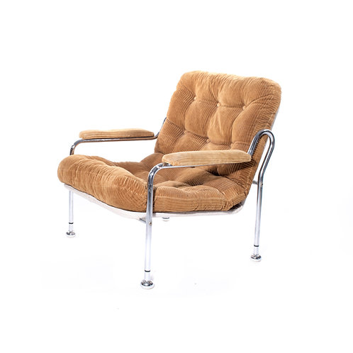 1970s Chrome armchair in corduroy from Sweden