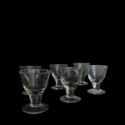 Crystal vintage snaps glasses with intarsia from Sweden early 1900s