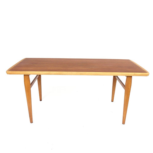 Lovely retro fully restored coffee table in birch and teak from Sweden 1960s