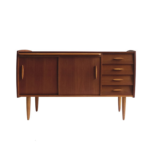 Retro teak, oak and birch sideboard with pull out leaf from Sweden mid-century