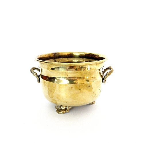 Antique brass pot with three legs and two handles from Sweden early 1900s