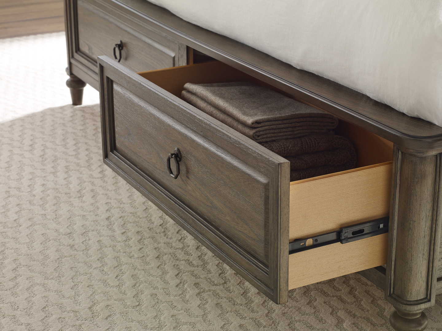 Panel Bed with Storage Detail