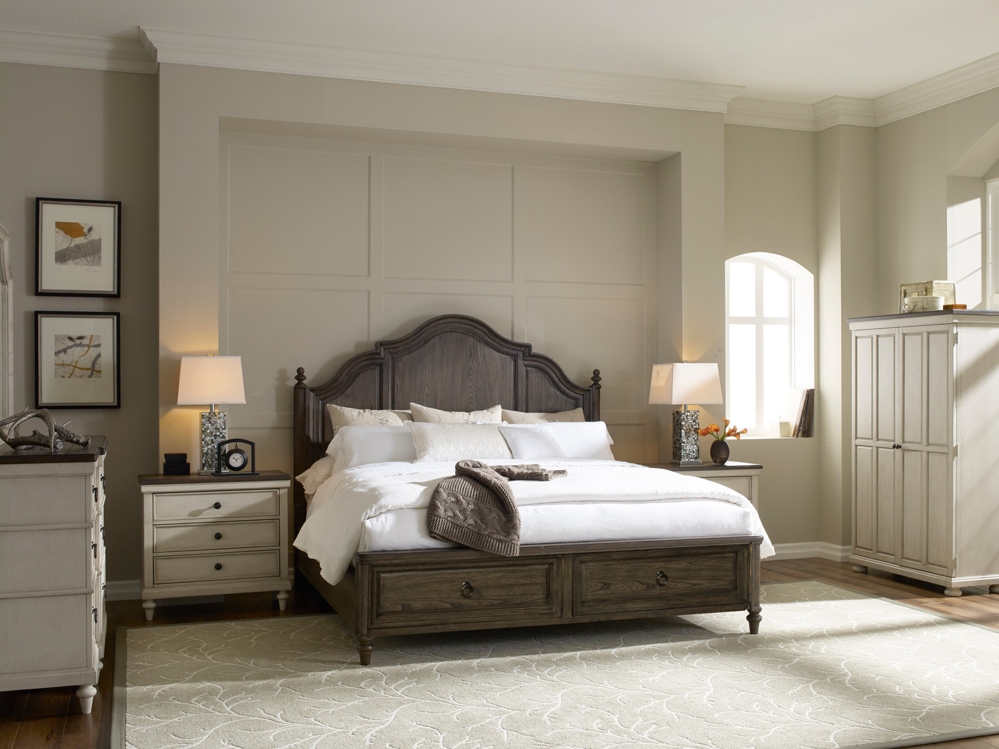 Panel Bed with Storage in Rustic Elm