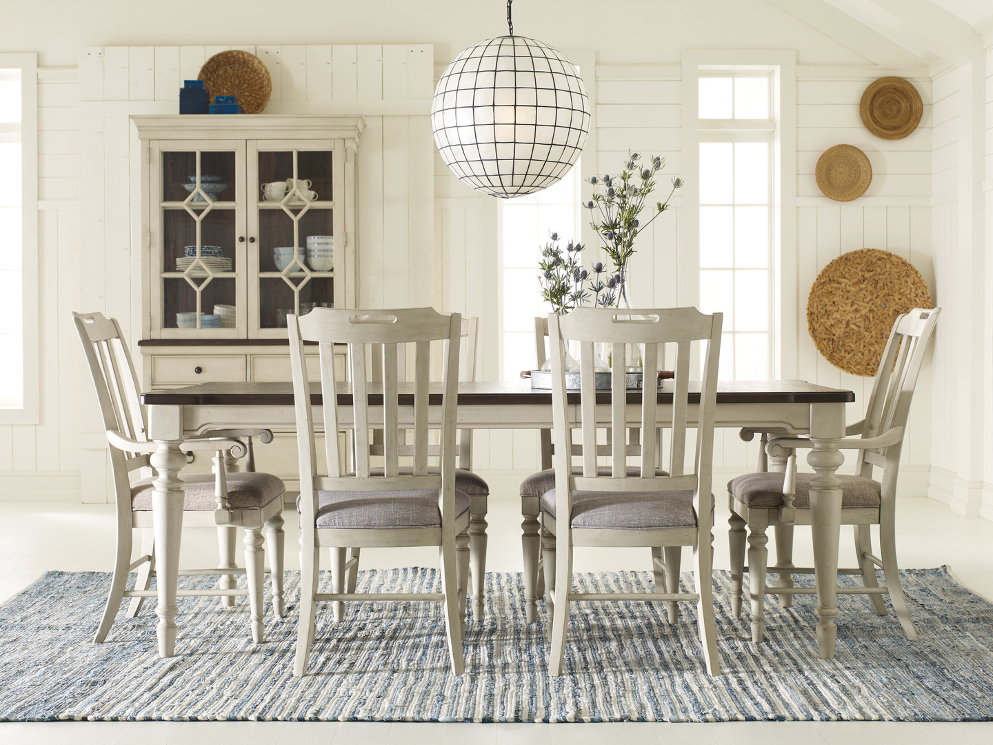 Dining Table with Slat Back Chairs