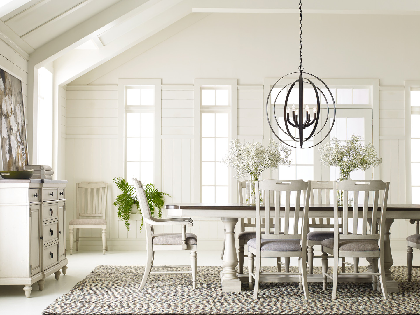 Trestle Dining Table with Slat Back Chairs