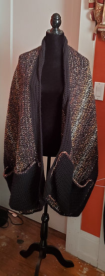 Elegant Black and Gold Thick Scarf