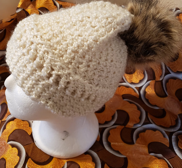 Creme Hat with Brown Puff
