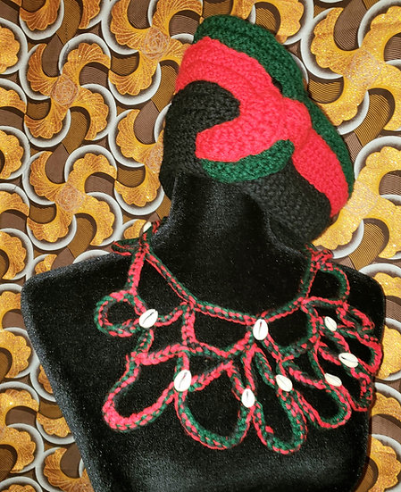Red Black and Green Crown Topper and Bib Necklace
