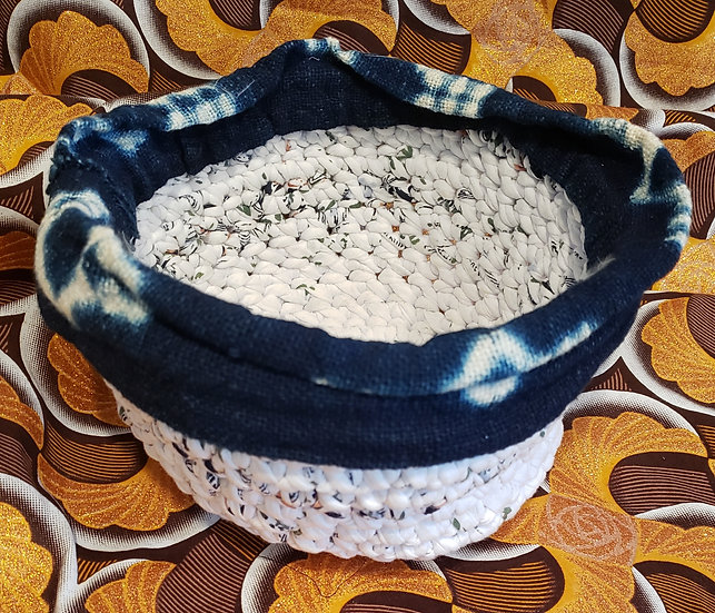 Crocheted Navy and White Bowl
