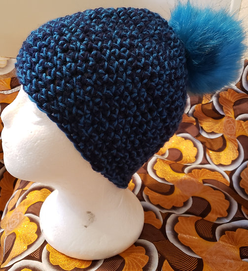 Blue and Black Hat with Blue Puff