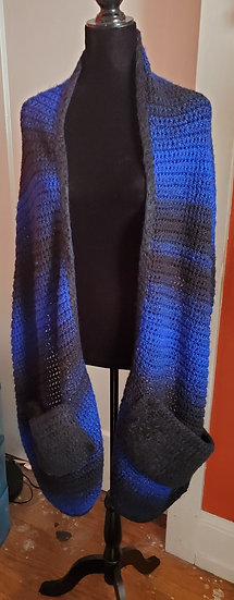 Blue and Black Shawl with pockets