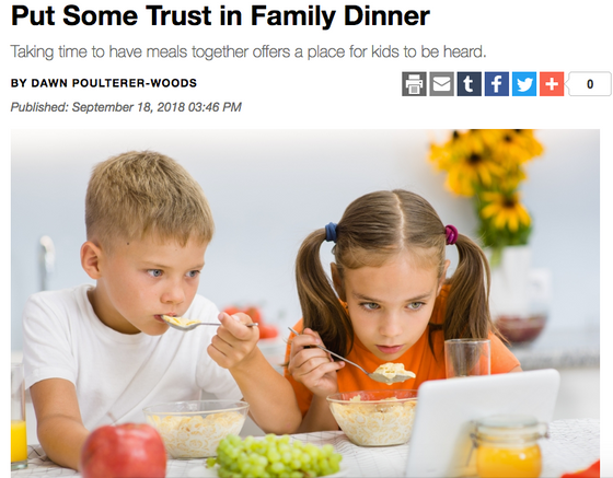 "Article from Charlotte Parent- ""Put Some Trust in Family Dinner: Taking time to have meals toge"