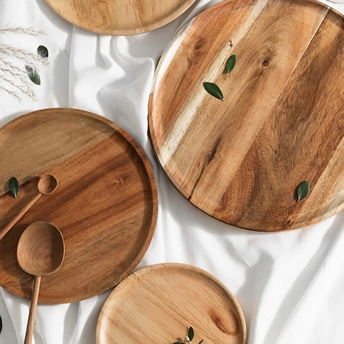 Wooden Round Oval Solid Plate