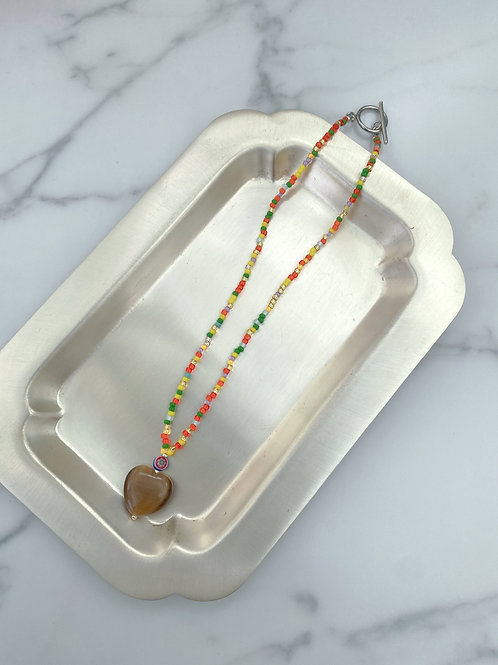 NO.1 Glass heart tropical (Choker necklace)