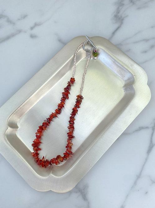NO.5 天然石風bees pink (Choker necklace)