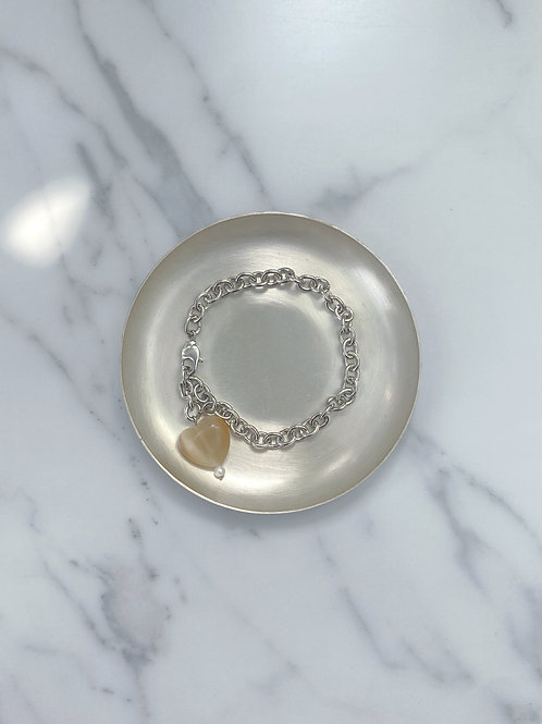 Glass heart chain bracelet