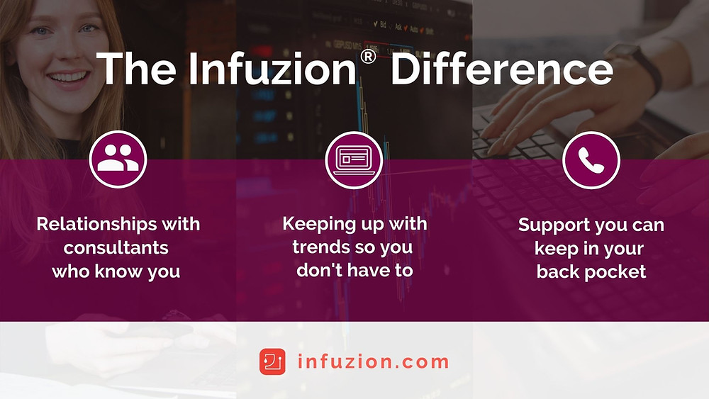 Infuzion is different because our consultants build relationships with clients, we keep up with trends so you don't have to and we offer support that you can keep in your back pocket