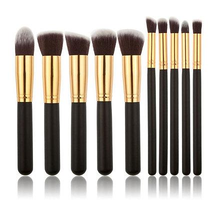 10 Pcs Silver/Golden Makeup Brushes Set