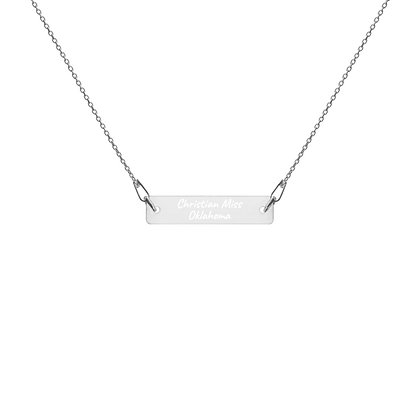 Engraved Bar Chain Necklace- Christian Miss Oklahoma