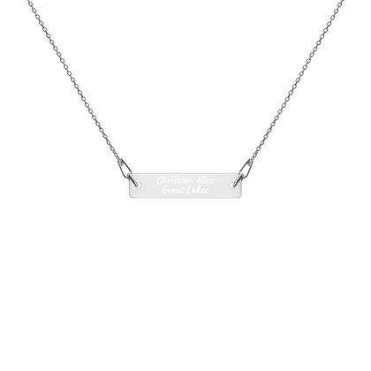 Engraved Bar Chain Necklace- Christian Miss Great Lakes