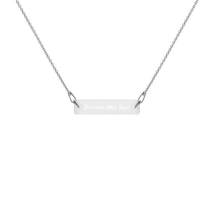 Engraved Bar Chain Necklace- Christian Miss Texas