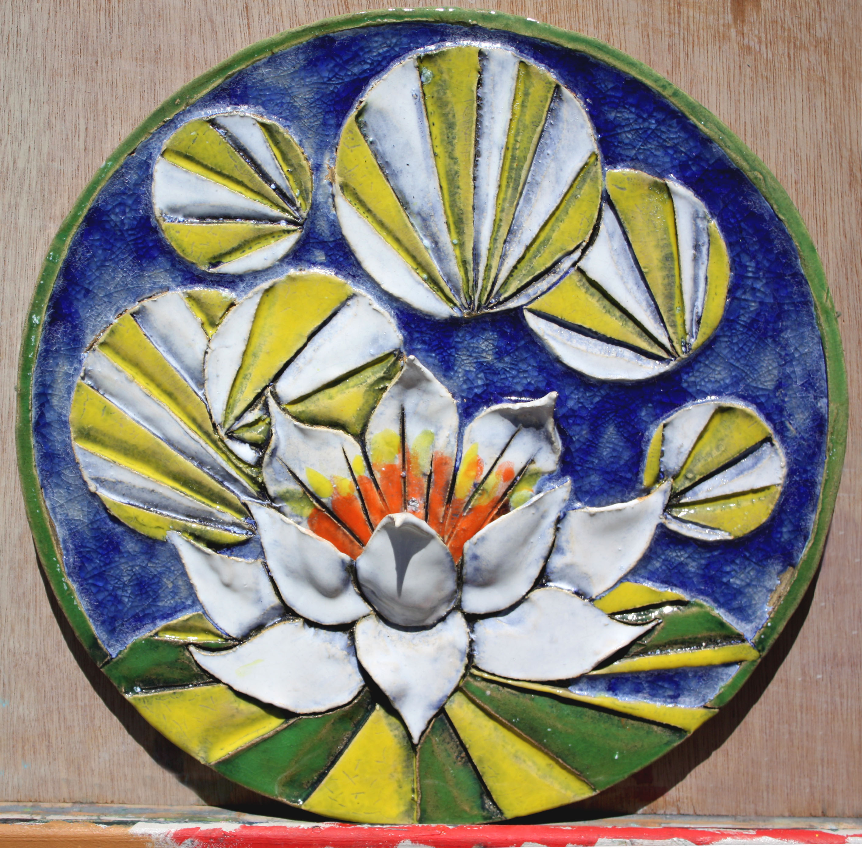 water lily round tile