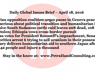 Daily Global Issues Brief - April 18, 2016 (headlines)